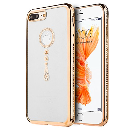 p2s88 LUXMO APPLE IPHONE 7 PLUS TRANSPARENT TPU WITH CHROME FRAME CRYSTALSKIN CASE - GOLD TEAR (Gold Teardrop Frame)