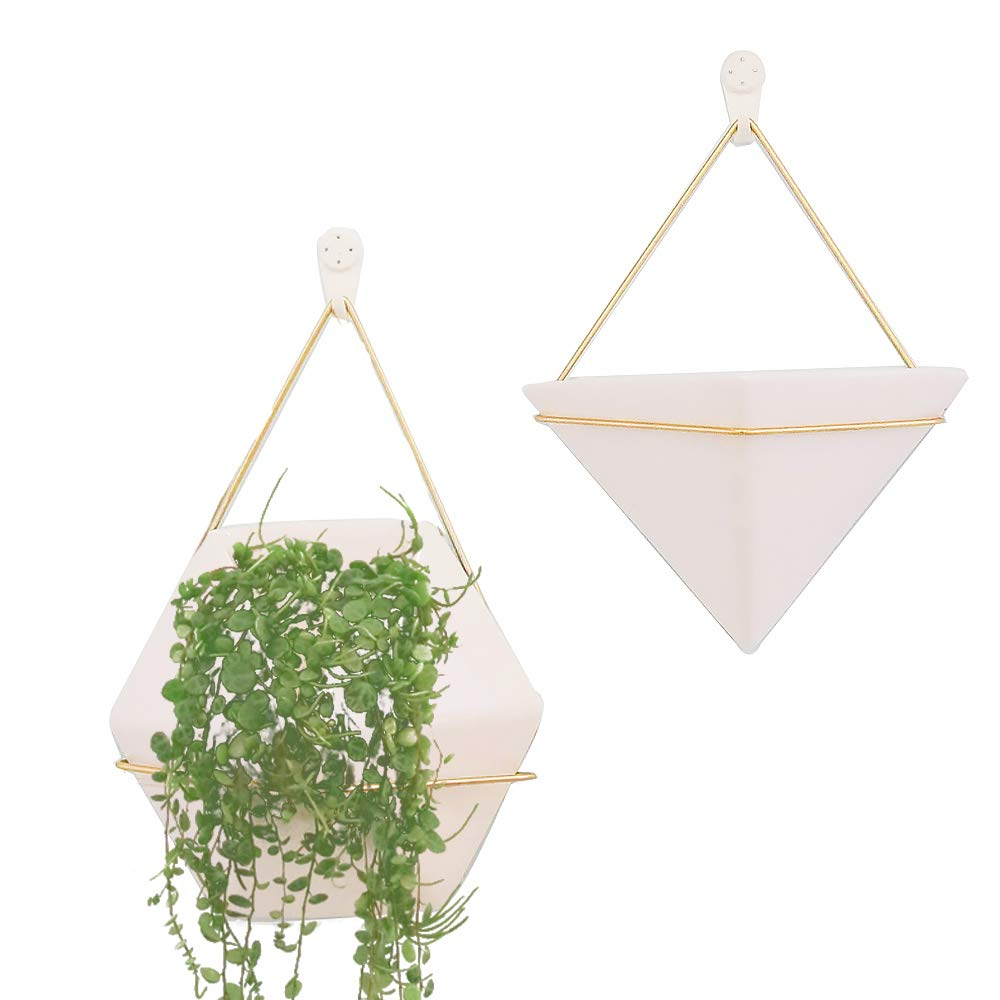 Wall Decor Planters 2 Set White Ceramic Hanging Geometric Wall Decor Container - Great for Succulent Plants, Air Plant, Faux Plants,White