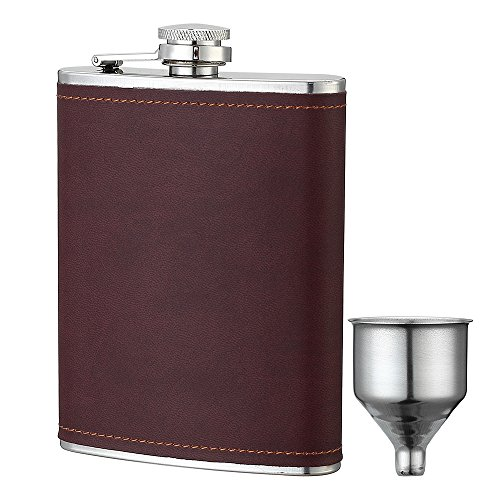 YWQ 8oz Stainless Steel Brown PU Leather Flask, Heavy Duty Hip Flask Gift Set,Includes Funnel and Gift Box ()