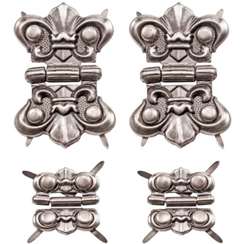 Hinges by Tim Holtz Idea-ology, 4 Hinges and 16 Fasteners, Antique Nickel Finish, TH93075 ()