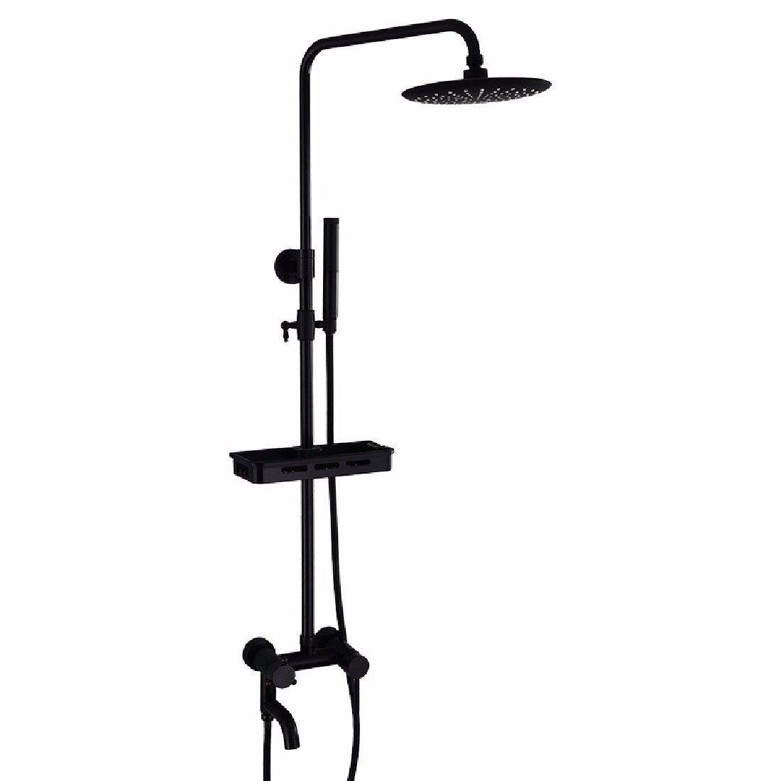 WAWZJ Bathroom Shower Set European Style Black Shower Faucet All Copper Hotel Americano Wall Mounted Shower.