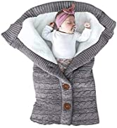 XMWEALTHY Unisex Infant Swaddle Blankets Soft Thick Fleece Knit Baby Girls Boys Stroller Wraps Ba...