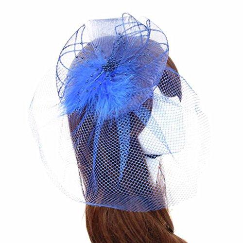 Wedding Fascinator ,BeautyVan Fashion Wedding Fascinator Veil Feather Hard Yarn Headband Women Brides Hair Hats