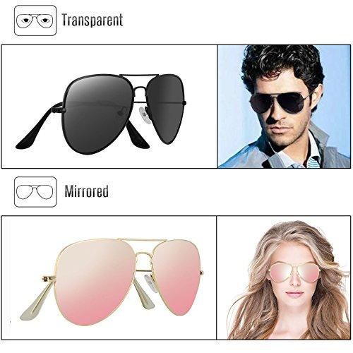 Livhò G Sunglasses for Men Women Aviator Polarized Metal Mirror UV 400 Lens Protection Black Grey+sakura Powder