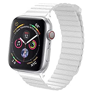 EWORLD Sport Loop Compatible with Apple Watch 42mm 44mm Leather Band with Strong Magnetive Closure, Strap Replacement for iWatch Series 4/3 / 2/1 - White
