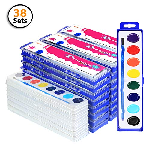 - 38 Bulk Water Color Oval Paints - 24 Sets and 14 Refills - Jumbo Pack - Washable