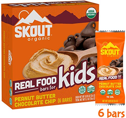 Skout Organic Real Food Bars for Kids – Peanut Butter Chocolate Chip – Vegan Snacks – Plant Based Bars – Non-GMO – Gluten Free, Dairy Free, Soy Free – No Sugar Added – 0.85 oz (6 Count)