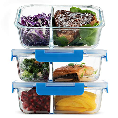 Glass Meal Prep Containers 2-Compartment - 3-Pack 32 Oz. Freezer to Oven Safe Airtight Food Storage Container Set with Hinged Locking Lids BPA Free, Great On the Go Portion Control Lunch Containers