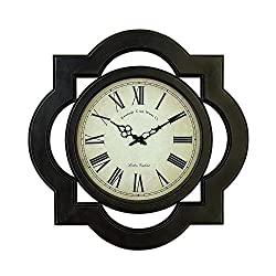 Deco 79 Traditional Quatrefoil Wood Frame Large Wall Clock, 24x24, Black and White Finish