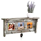 Cheap Wall Mounted Rustic Torched Wood Entryway Photo Frame Shelf with 3 Key Hooks