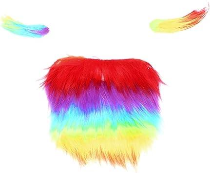Amosfun arcoíris Barba ceja Colorida Fiesta de Halloween Cosplay ...