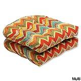 Pillow Perfect Outdoor Tamarama Multi Wicker Seat Cushion, Set of 2