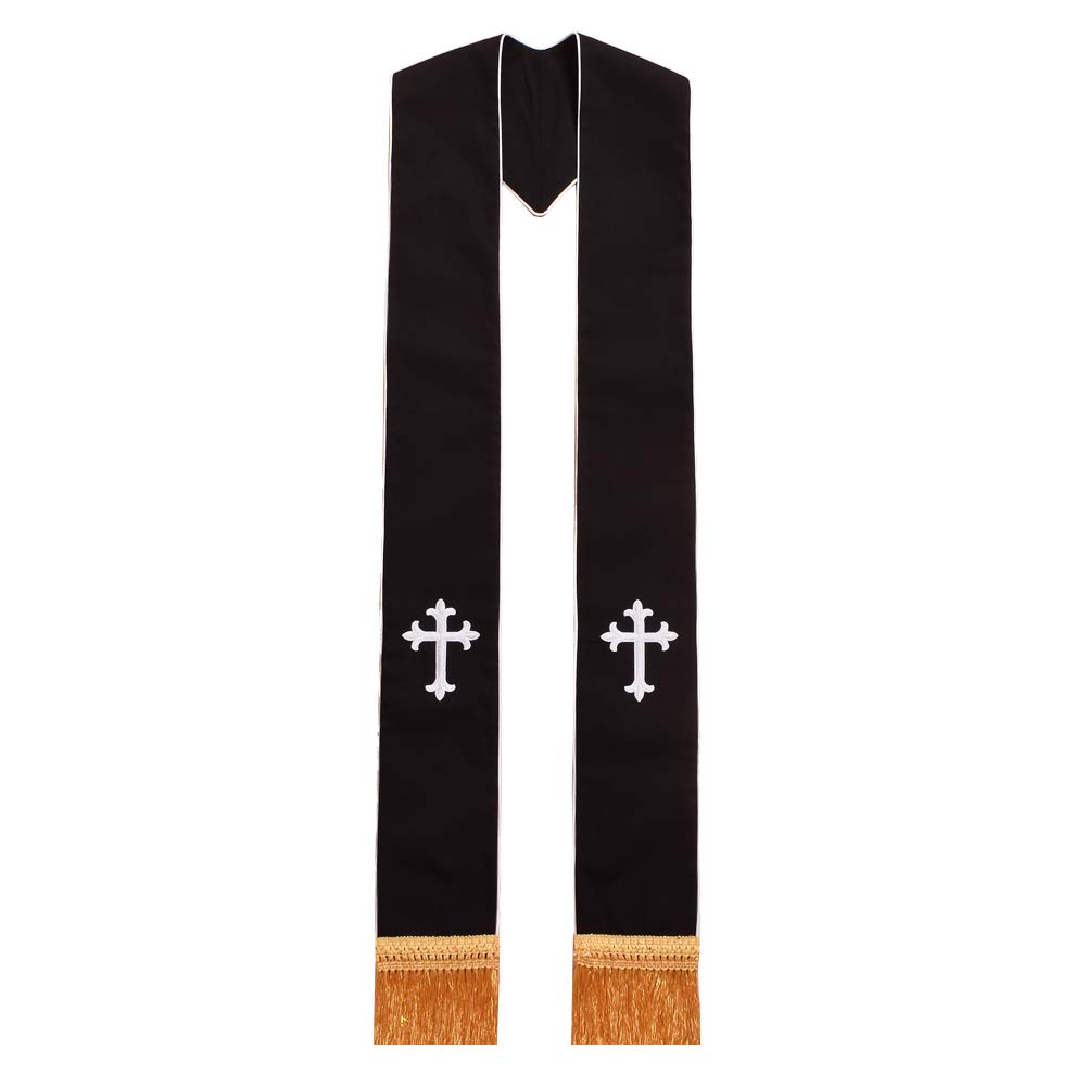 Blessume Clergy Black Stole Cross Embroidered 1pc