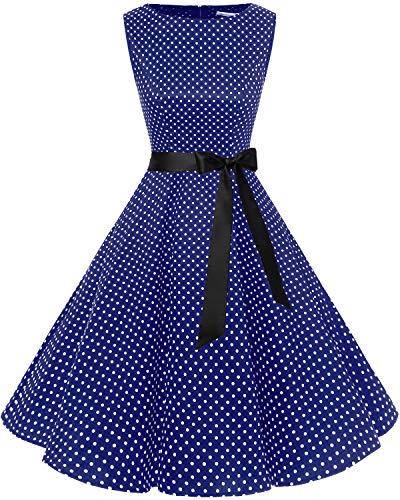 Bbonlinedress Women's 1950s Audrey Summer Vintage Rockabilly Swing Dress Navy Small White Dot ()