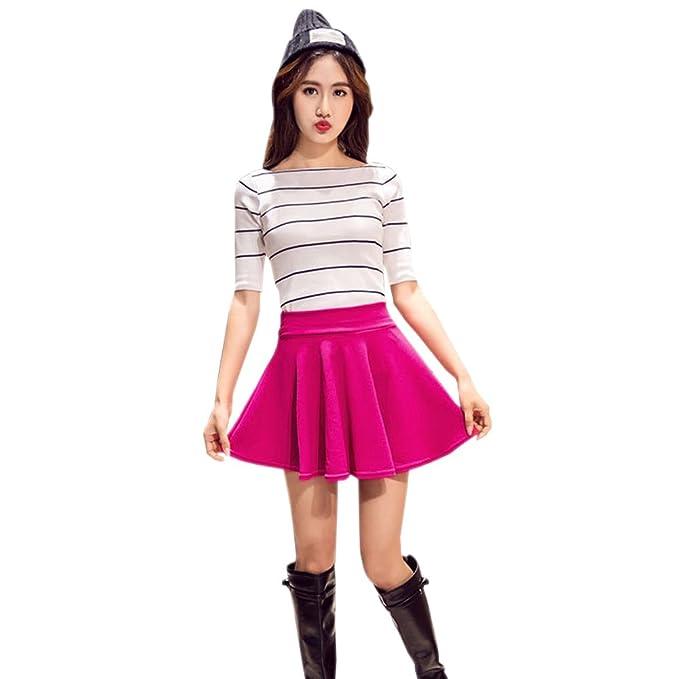 83de760b20 KINDOYO Nueva moda falda plisada de cintura elástica color sólido más el tamaño  falda corta para mujer