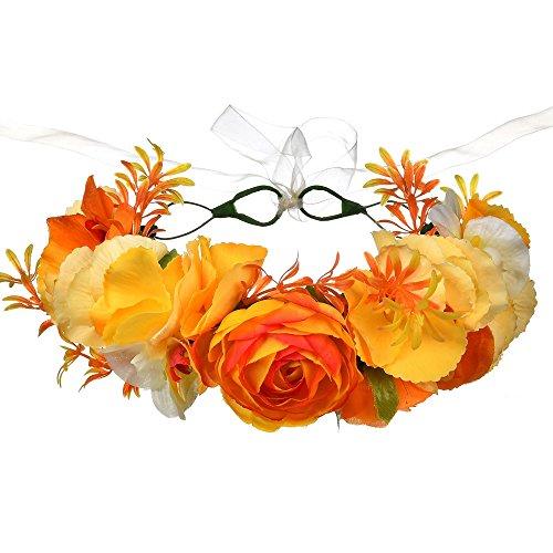 Orange Purple Flowers - DreamLily Maternity Woodland Photo Shoot Peony Flower Crown Hair Wreath Wedding Headband BC44 (T-Fall Orange Crown)