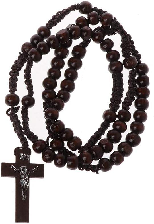 KINTRADE Collar de Rosario de Perlas de Madera católica con Sello de Jesús Joyas religiosas de Jesús Cruzadas - Marrón Oscuro