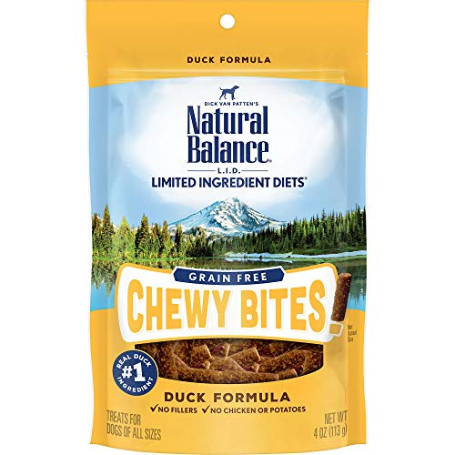 Natural Balance L.I.D. Limited Ingredient Diets Chewy Bites Dog Treats, Duck Formula, 4 Ounce Pouch, Grain Free