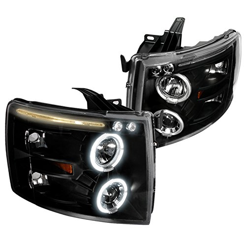 Spec-D Tuning 2LHP-SIV07JM-TM Chevy Silverado Black Led Projector Head Lights by Spec-D Tuning