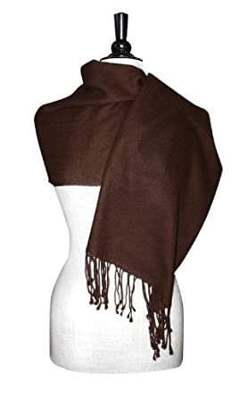 e0b672f691585 Biagio 100% Wool Pashmina Solid Scarf Chocolate Brown Color Women's Shawl  Wrap at Amazon Women's Clothing store: