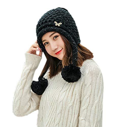 Headgear Denim Cap (Fashion Women Solid Color Earmuffs Knited Cap with Hair Ball Headgear Beanie Tail Hat (Black))