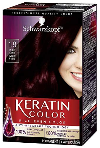 Schwarzkopf Keratin Color Permanent Hair Color Cream, 1.8 Ruby Noir (Packaging May Vary), Pack of 1