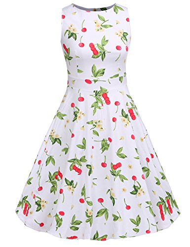 ACEVOG Women's Sleeveless Floral Printed Fit and Flare Swing Dress,White Floral,X-Large