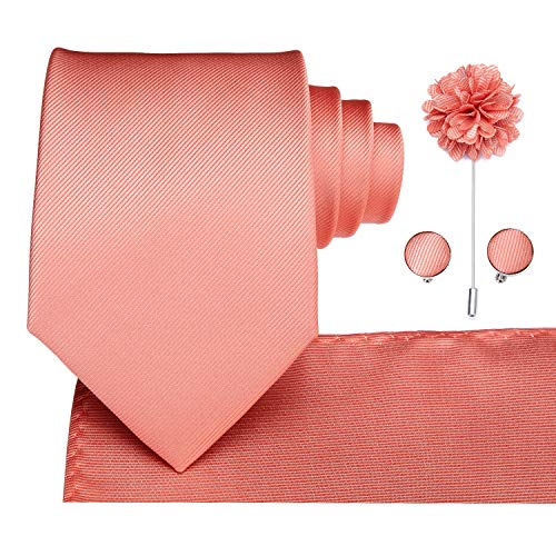 Dubulle Wedding Coral Tie and Boutonniere Pocket Square Cufflinks Set ()