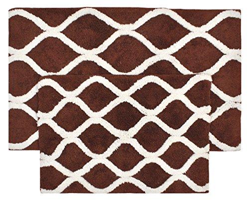 VALUE HOMEZZ Lattice Bath Rugs Size 21 x 34/17 x 24 Non Skid High Absorbency & Durable Machine Washable Bath Mat (Dark Brown) (Lattice Rug Brown)