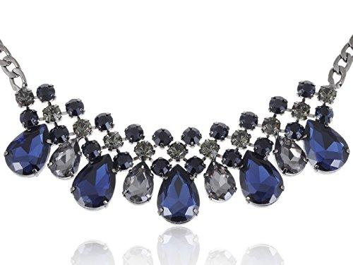 Alilang Black Tone Blue Faux Diamond Bead Transparent Rhinestone Collar Necklace (Colored Rhinestone Costume Jewelry)