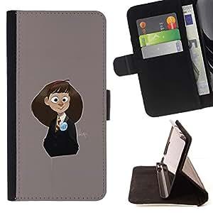 Momo Phone Case / Flip Funda de Cuero Case Cover - Gris colegiala lindo de los niños de dibujo - Samsung Galaxy Note 5 5th N9200