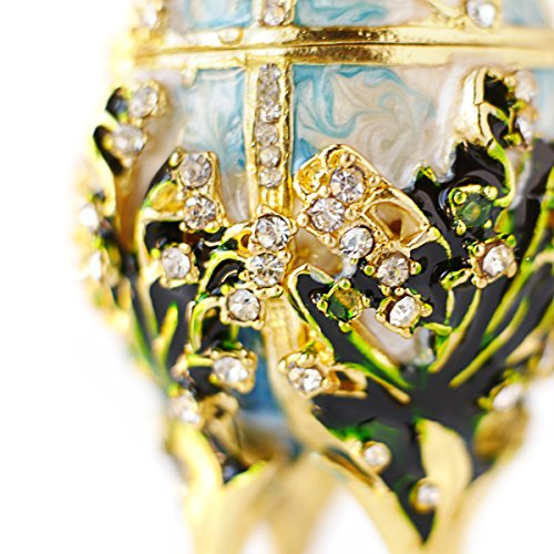 Apropos Hand-Painted Vintage Style Faberge Egg with Rich Enamel and Sparkling Rhinestones Jewelry Trinket Box (S. White Cross) by Apropos (Image #3)'