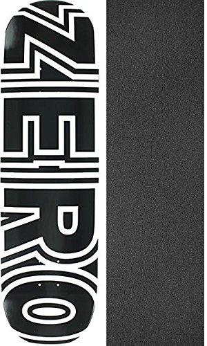 ゼロスケートボードボールドブラック/ホワイトスケートボードデッキ – 8.75