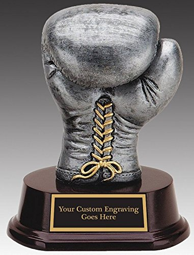 - Boxer, Boxing Gloves Award-Trophy Pewter Color Finish Resin Sculpture 5