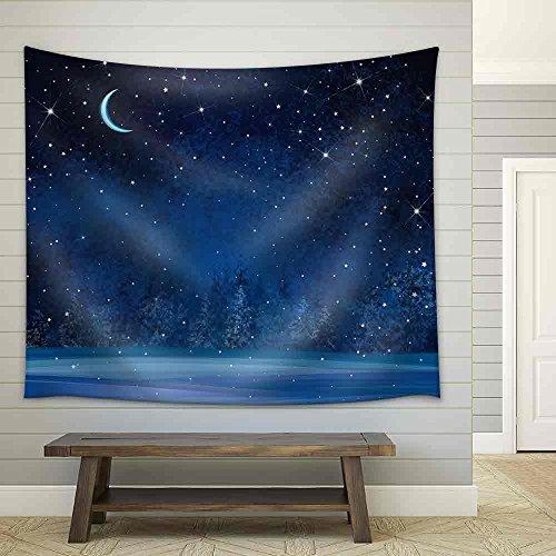 Vector Winter Wonderland Night Background Fabric Wall