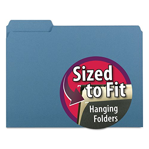 Smead Interior File Folder, 1/3-Cut Tab, Letter Size, Blue, 100 per Box (10239) ()