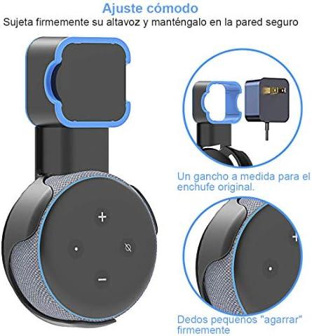 Echo Accesorios, Soporte para Estuche de Montaje en Pared Echo Dot Soporte Funda Protectora para Amazon Echo Dot (3ra generación) Accesorios Que ahorran Espacio para Altavoces domésticos sin Cables ni Tornillos (Negro) 5