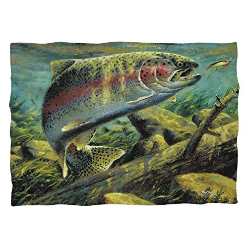 Wild Wings Rainbow Trout 2 (Front Back Print) Poly 20X28 Pillow Case White One Size