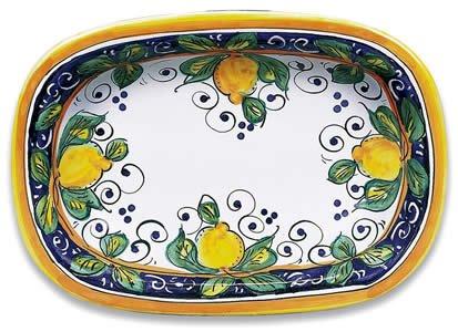 Hand Painted Italian Ceramic Alcantara Oval Dish - Handmade in Deruta - Hand Painted Italian