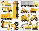 17 Piece Construction Vehicles Wall Tattoo Set for Child's Bedroom Baby Room, multicoloured, 2x 16x26cm