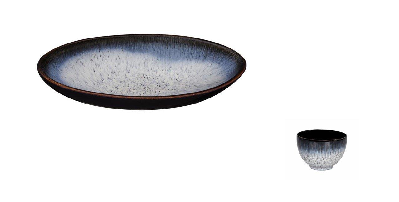 Denby Halo Large Oval Serving Dish and Deep Noodle Bowl, Set of 2