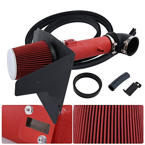 For Chevrolet Camaro V6 3.6L 3.6 Liter High Flow Induction Air Intake System + Heat Shield Red Wrinkle Piping Kit ()
