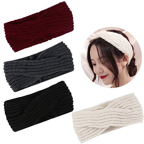Jaciya Crochet Turban Headband Womens Winter Warm Knitted Headbands Crocheted Headwrap, Cross Pattern
