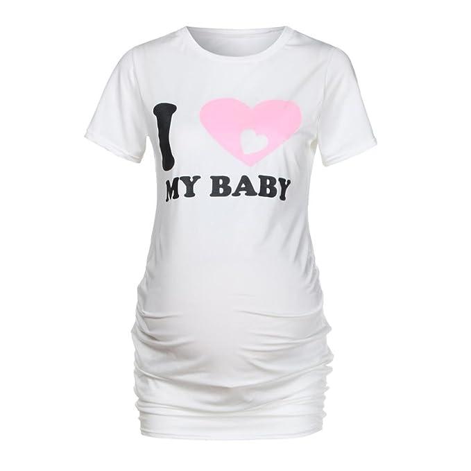 Amphia Blusa Embarazada para Premamá, Camiseta de enfermería de Manga Corta para Mujer Camiseta de