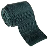 Retreez Smart Casual Men's 2.4'' Skinny Knit Tie with Stripe Texture - Dark Green
