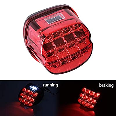 NTHREEAUTO Red LED Rear Tail Lights Motorcycle Taillights Brake Running Compatible with Harley Touring Dyna Road King Electra Glide Street Bob: Automotive
