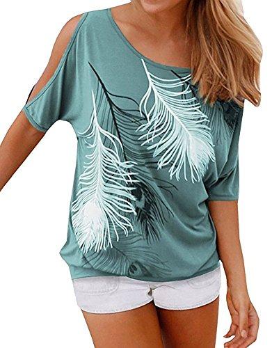 Bluse e Camicie Donna Eleganti Moda T Shirt Stampa Piuma Casual Camicette Spalle Scoperte Maglietta Manica Pipistrello Sweatshirt Ufficio Tunica Top Estivi Ragazza Tumblr Verde
