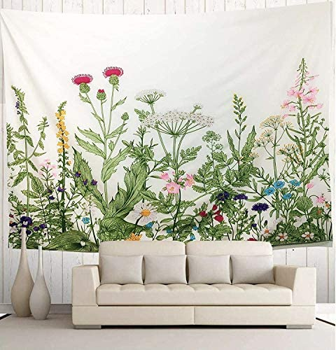 Wekymuu Colorful Floral Tapestry Plant Wall Tapestry Wild Flower Tapestry Vintage Herbs Tapestry Nature Scenery Tapestry Wall Hanging for Room Bedroom Dorm Home Decor Floral70.8 x 91