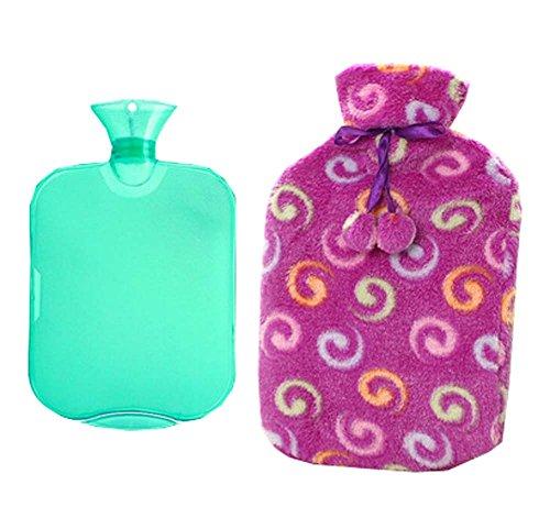 Klassische Heiß- oder Kaltwasserflasche aus Gummi mit weicher Fleeceabdeckung (2 Liter, A8)