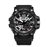 Ireloj Military Wrist Watch Large Dual Dial Analog Digital Quartz Watches Electronic Malfunction Dual Timezone Back Light Water Resistant-Black